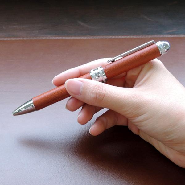 プラチナ万年筆 多機能ペン ダブル3アクション 牛ヌメ本革巻き キャメル