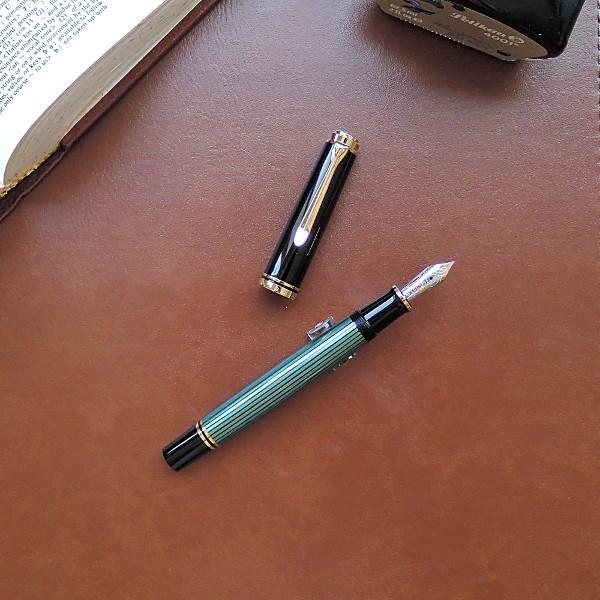 ペリカン 万年筆 スーベレーン M600 緑縞 <ボトルインクおまけ付>