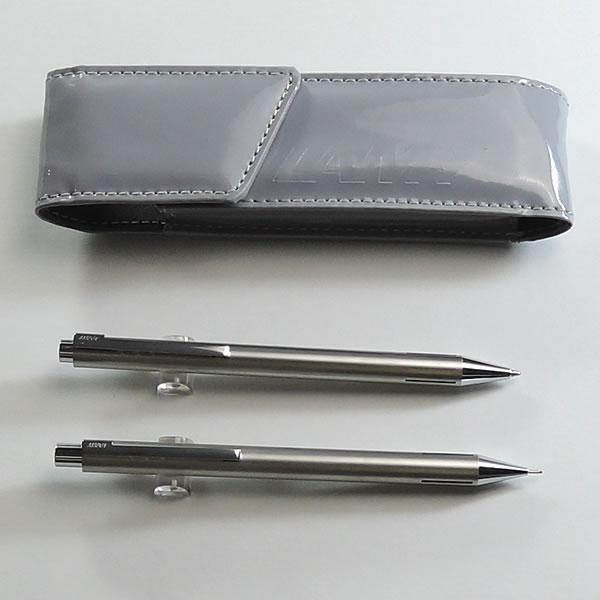 【ラミー】econ(イコン) ステンレス(ボールペン×シャープペン+グレーペンケース付)《名入れなし》
