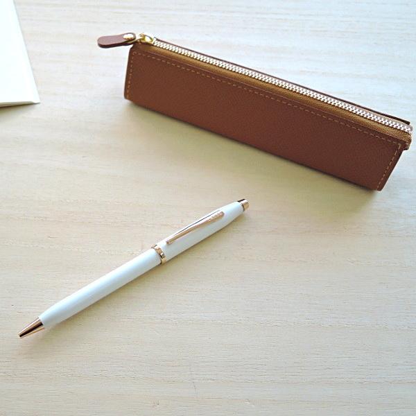 クロス ボールペン センチュリー�パールホワイトラッカー+ レザーペンケース(ギフトセット)