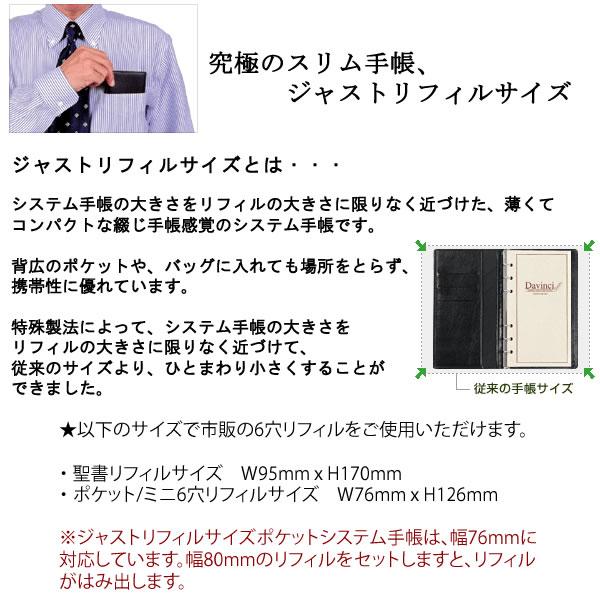 【名入れ可】ダ・ヴィンチ スタンダード ジャストリフィルサイズ ポケットサイズ ネイビー システム手帳(リング8mm)