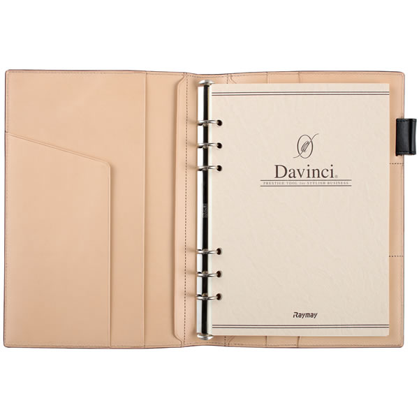 【名入れ可】ダ・ヴィンチ グランデ ペリンガーカーフ スリムサイズ A5 ダークブラウン システム手帳(リング15mm)