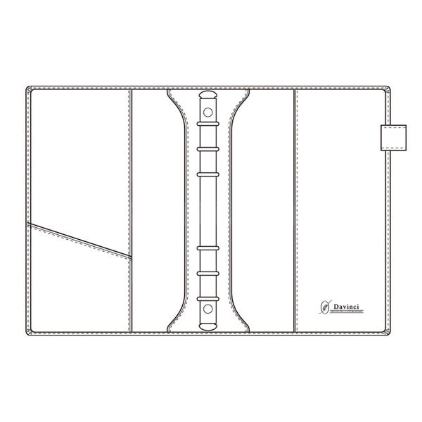 【名入れ可】ダ・ヴィンチ グランデ オリーブレザー スリムサイズ A5 ブラック システム手帳(リング15mm)