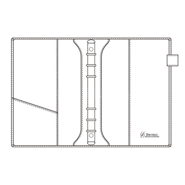 【名入れ可】ダ・ヴィンチ グランデ オリーブレザー スリムサイズ A5 ネイビー システム手帳(リング15mm)