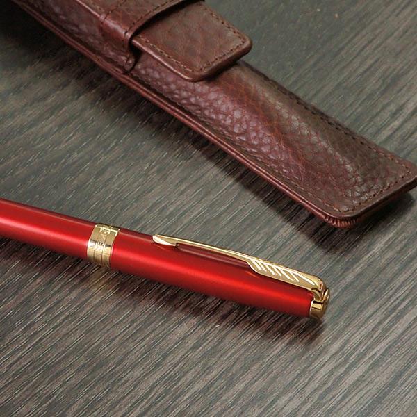 パーカー ボールペン ソネット レッドGT(リフィルおまけ付き) + レザーペンケース(ギフトセット)