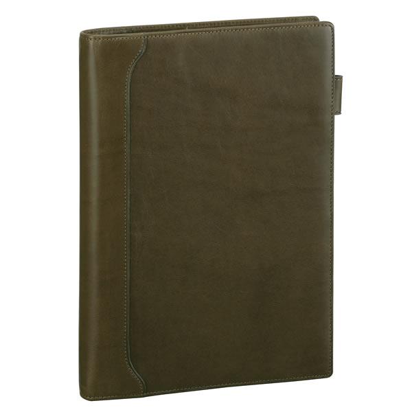 【名入れ可】ダ・ヴィンチ グランデ オリーブレザー スリムサイズ A5 グリーン システム手帳(リング15mm)