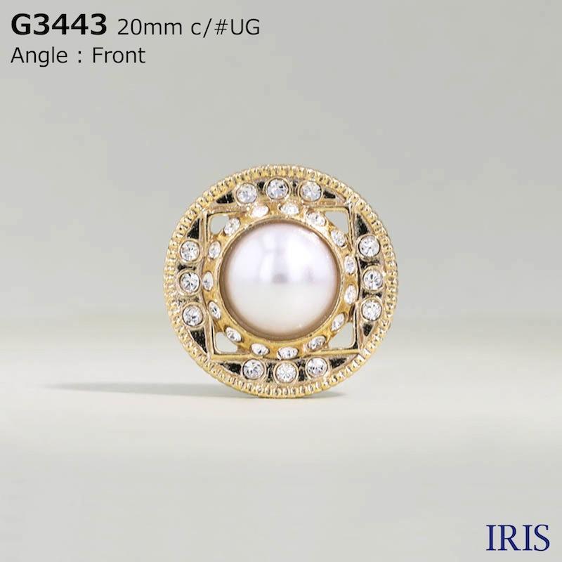 G3443 パールコーティング/ガラス/キャスト 半丸カン足ボタン  3サイズ2色展開