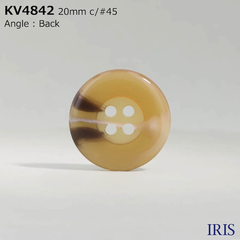 KV4842 ポリエステル樹脂 表穴4つ穴ボタン  5サイズ7色展開