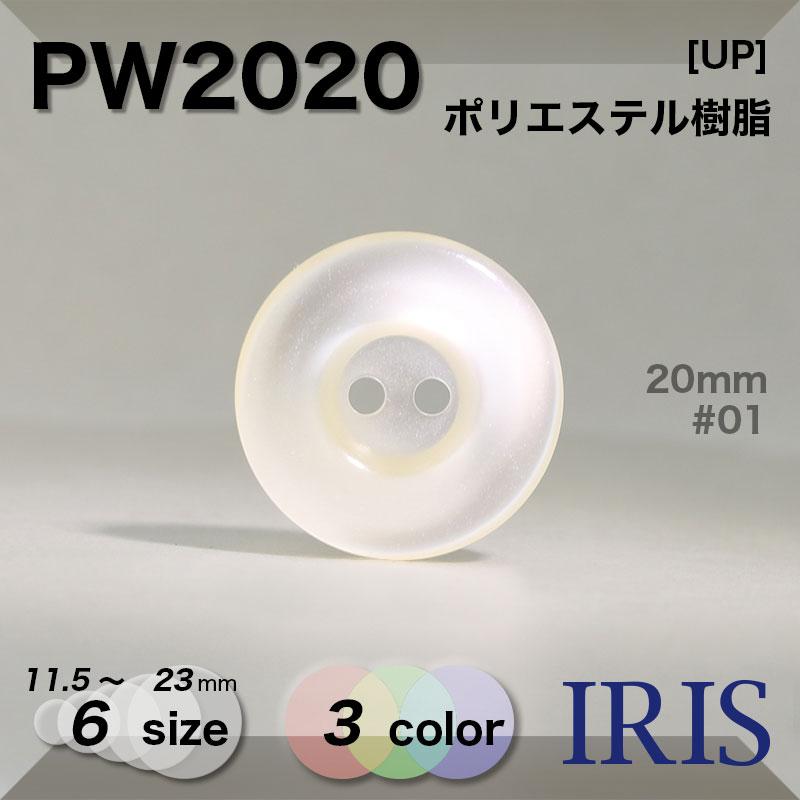 PW2020 ポリエステル樹脂 表穴2つ穴ボタン  6サイズ3色展開