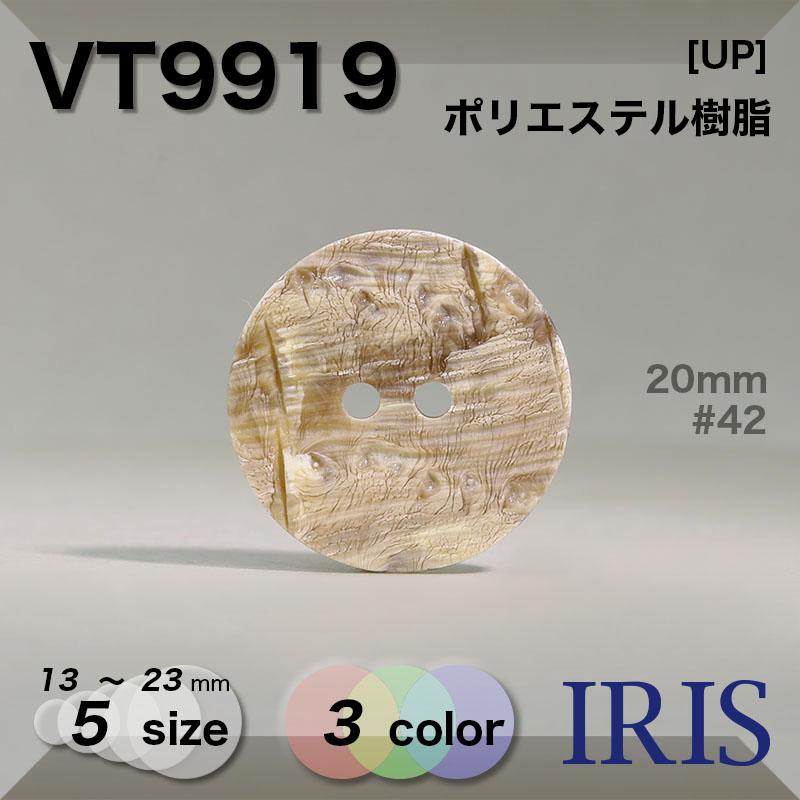 VT9919 ポリエステル樹脂 表穴2つ穴ボタン  5サイズ3色展開