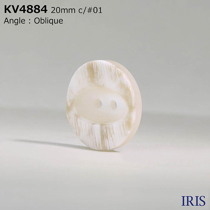 KV4884 ポリエステル樹脂 表穴2つ穴ボタン  6サイズ3色展開
