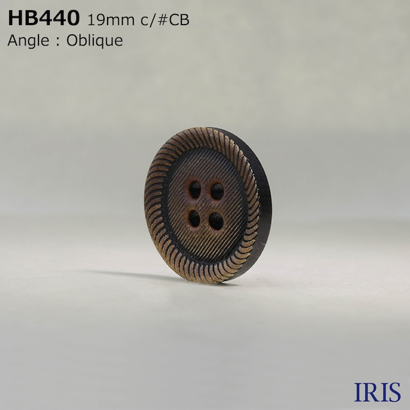 HB440 本水牛 表穴4つ穴ボタン  3サイズ1色展開