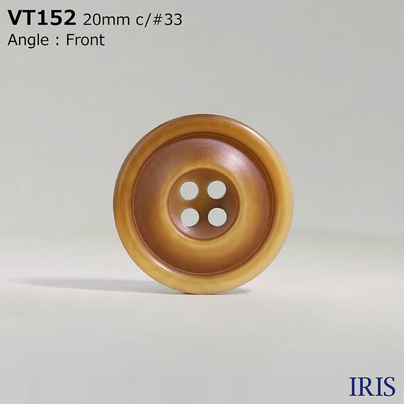 VT152 ポリエステル樹脂 表穴4つ穴ボタン  5サイズ9色展開