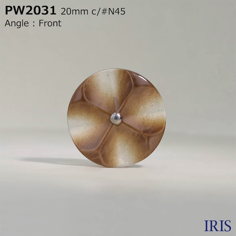 PW2031 ポリエステル樹脂/真鍮 丸カン足ボタン  4サイズ3色展開