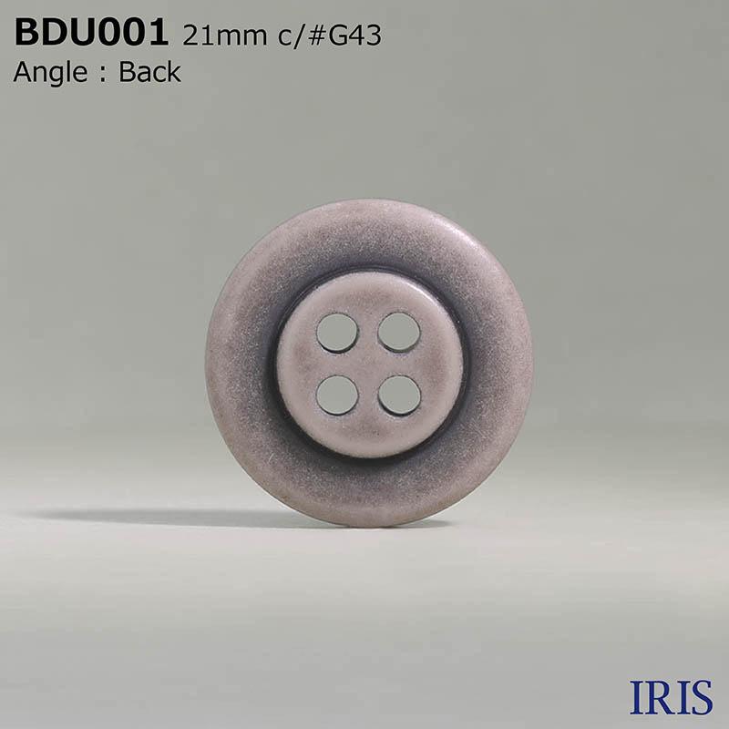 BDU001 ポリエステル樹脂 表穴4つ穴ボタン  4サイズ6色展開