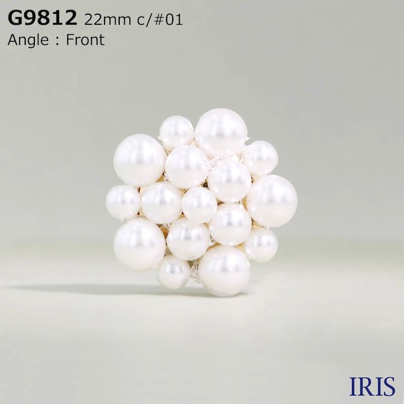 G9812 パールコーティング/真鍮 丸カン足ボタン  2サイズ2色展開