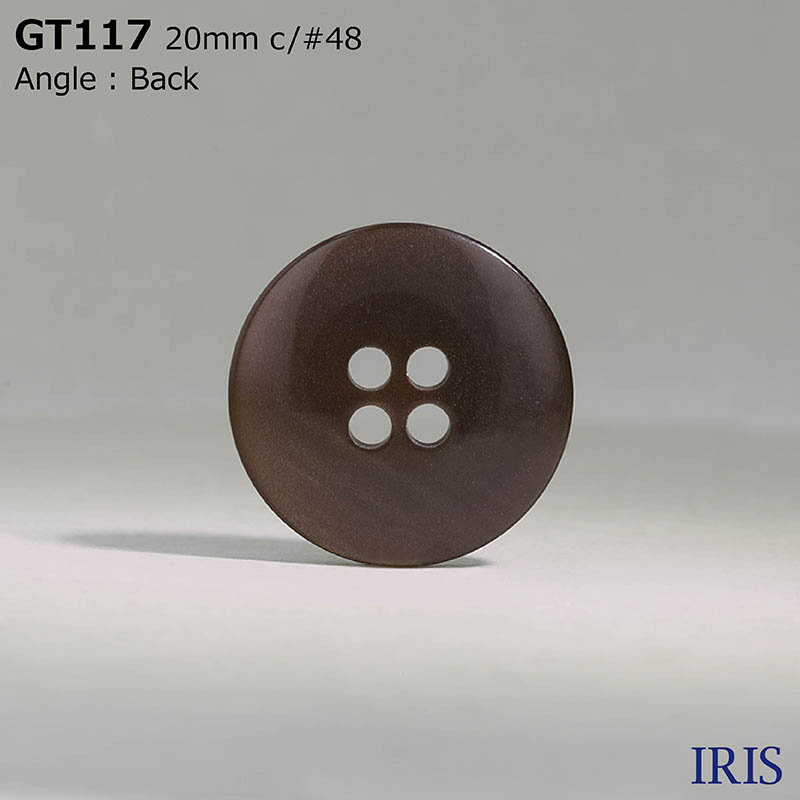 GT117 ポリエステル樹脂 表穴4つ穴ボタン  3サイズ6色展開