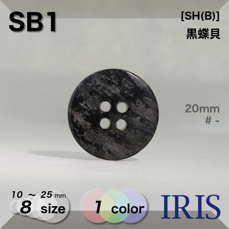 SB1 黒蝶貝 表穴4つ穴ボタン  8サイズ1色展開