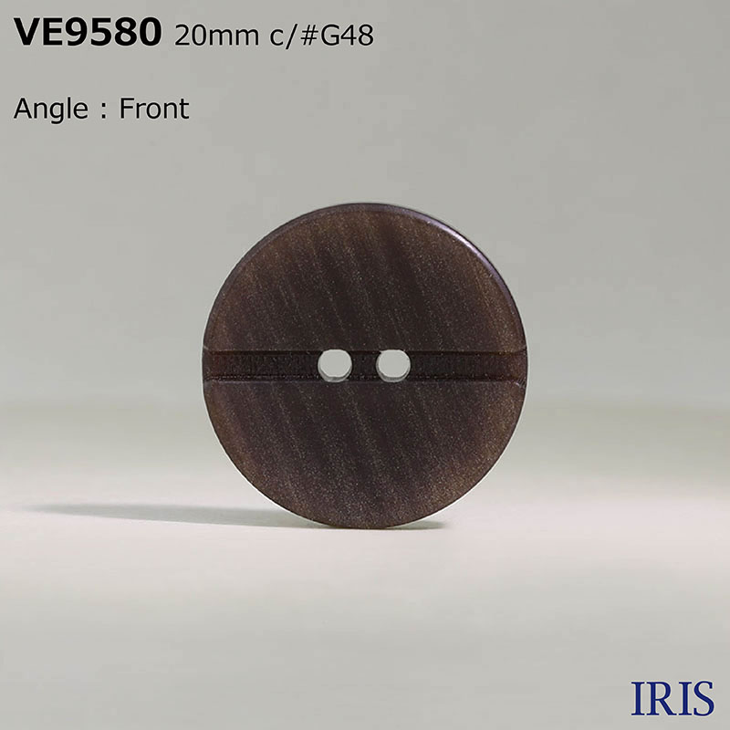 VE9580 ポリエステル樹脂 表穴2つ穴ボタン  4サイズ4色展開