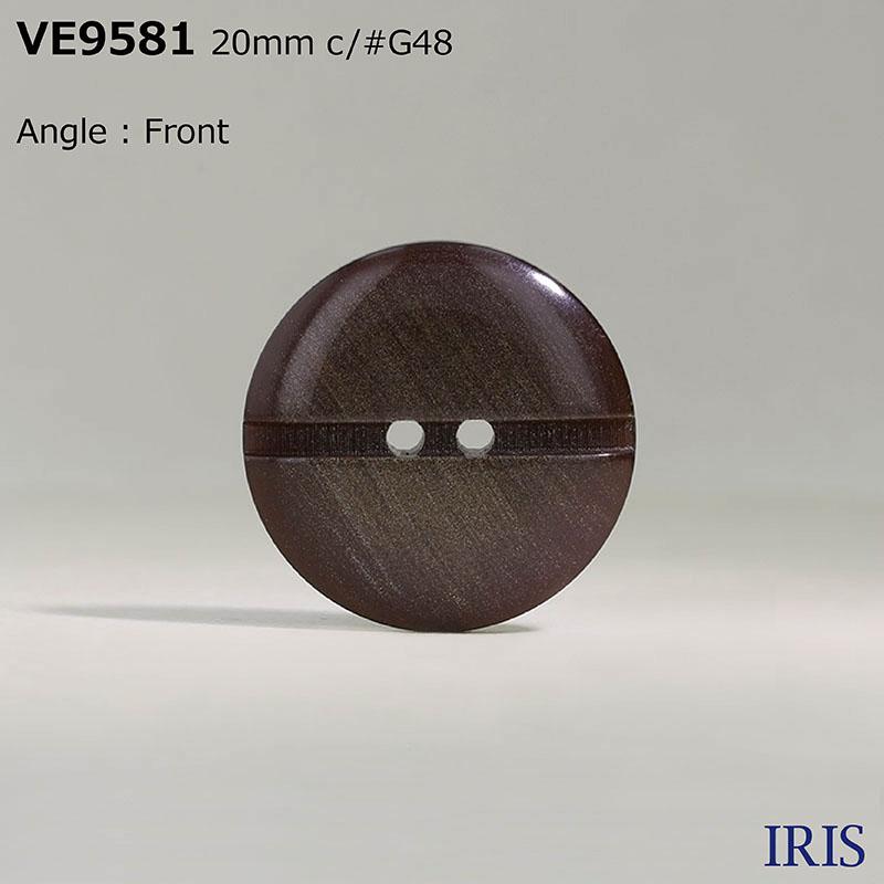 VE9581 ポリエステル樹脂 表穴2つ穴ボタン  4サイズ4色展開