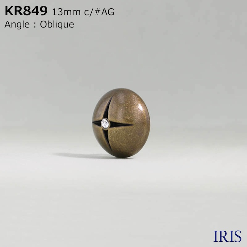 KR849 ガラス/ABS樹脂 角カン足ボタン  2サイズ2色展開