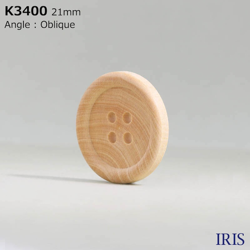 K3400 木 表穴4つ穴ボタン  5サイズ1色展開