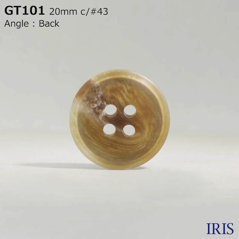 GT101 ポリエステル樹脂 表穴4つ穴ボタン  5サイズ7色展開