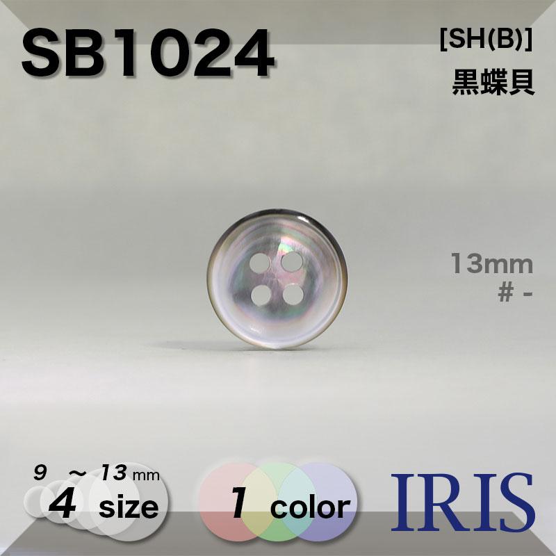 SB1024 黒蝶貝 表穴4つ穴ボタン  4サイズ1色展開