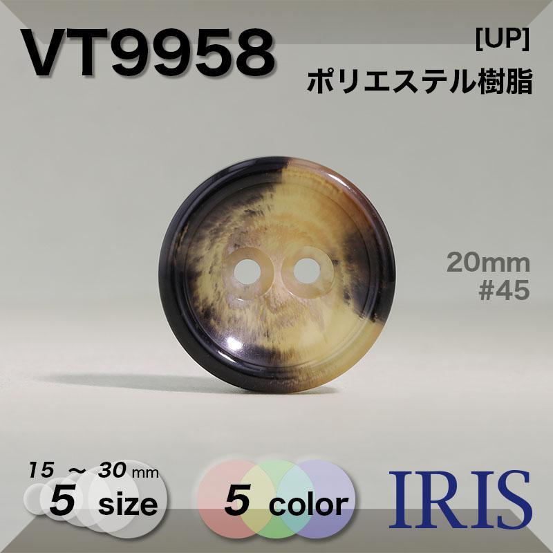 VT9958 ポリエステル樹脂 表穴2つ穴ボタン  5サイズ5色展開