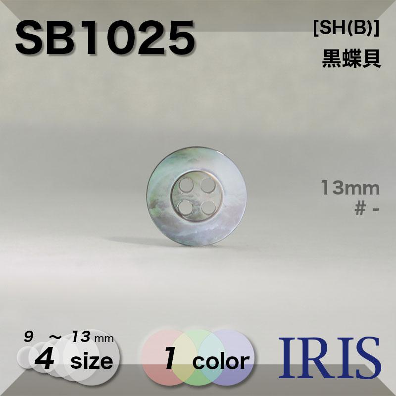 SB1025 黒蝶貝 表穴4つ穴ボタン  4サイズ1色展開