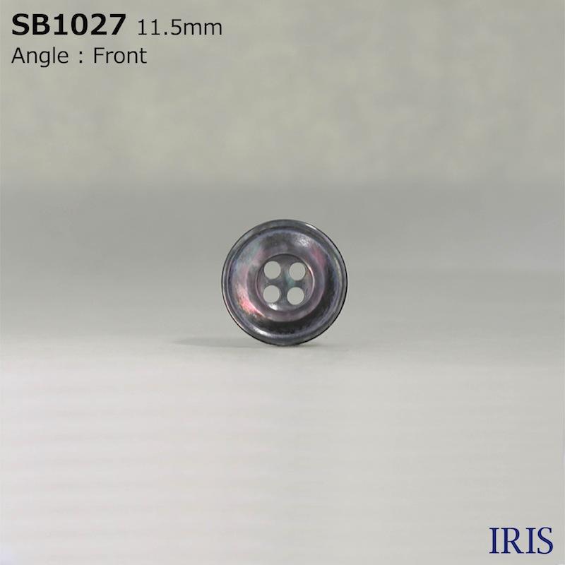 SB1027 黒蝶貝 表穴4つ穴ボタン  2サイズ1色展開