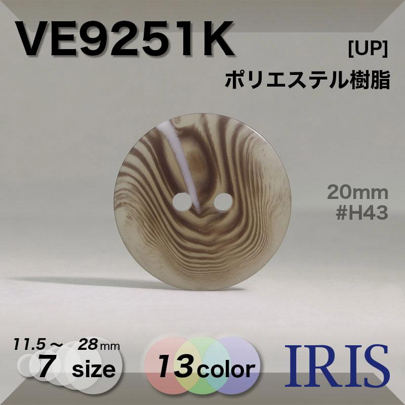 VE9251K ポリエステル樹脂 表穴2つ穴ボタン  7サイズ13色展開