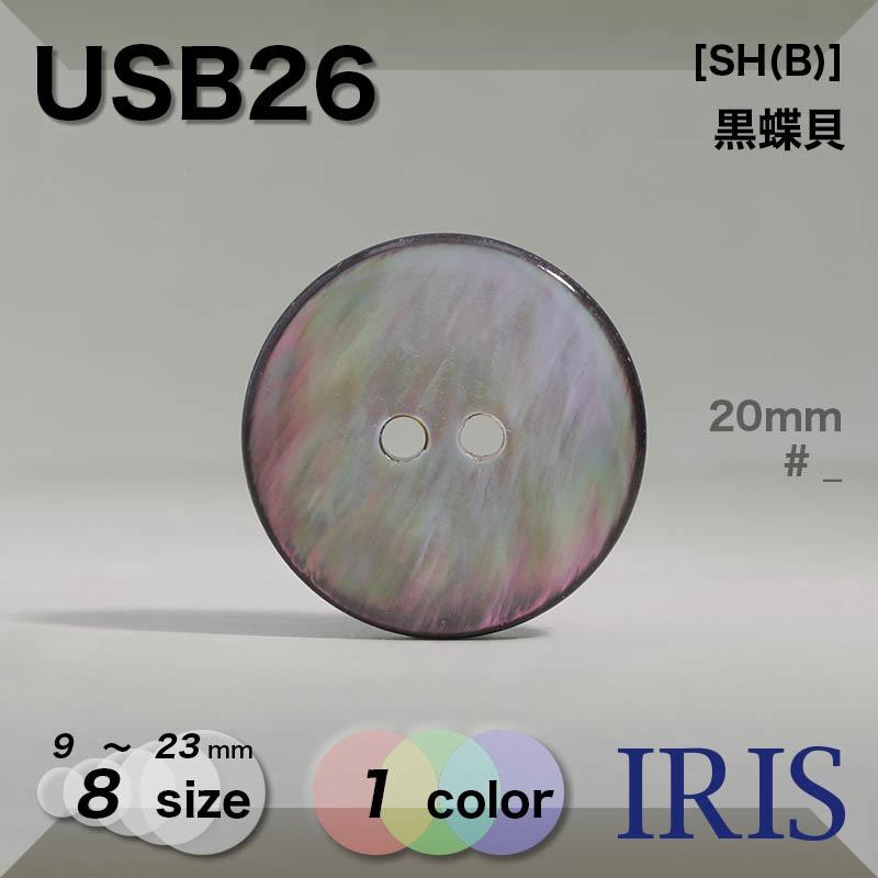 USB26 黒蝶貝 表穴2つ穴ボタン  8サイズ1色展開