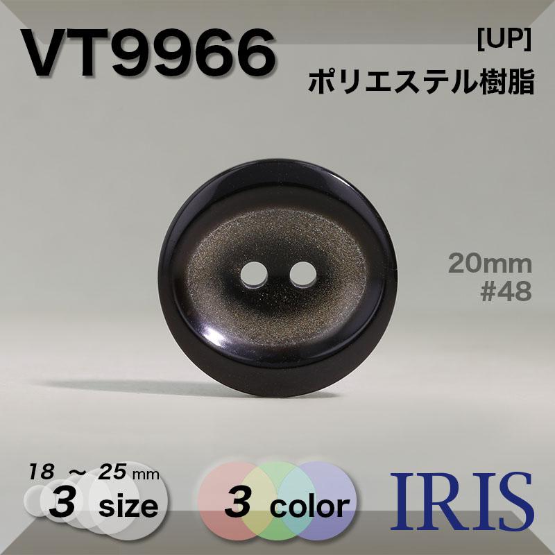 VT9966 ポリエステル樹脂 表穴2つ穴ボタン  3サイズ3色展開