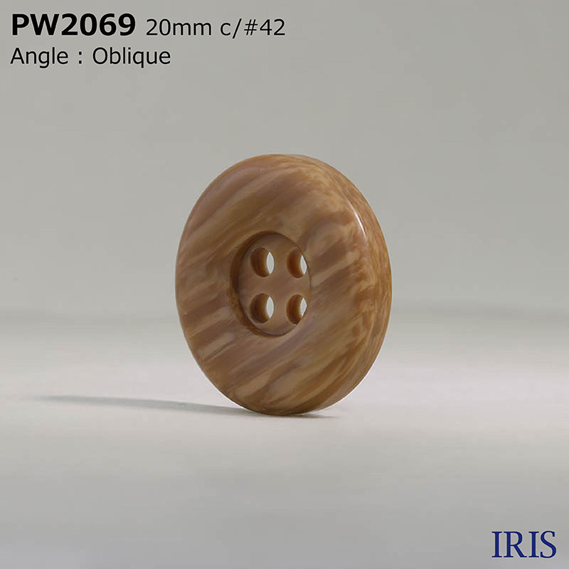 PW2069 ポリエステル樹脂 表穴4つ穴ボタン  5サイズ4色展開