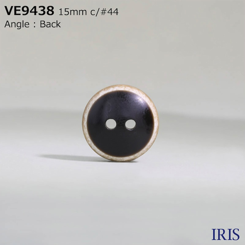 VE9438 ポリエステル樹脂 表穴2つ穴ボタン  3サイズ7色展開