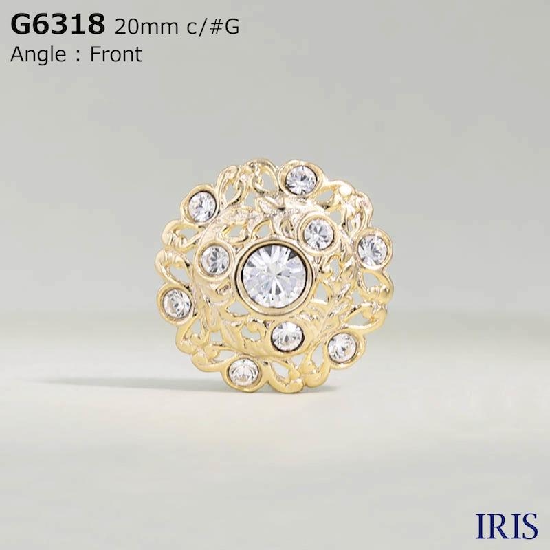 G6318 ガラス/キャスト 半丸カン足ボタン  3サイズ2色展開
