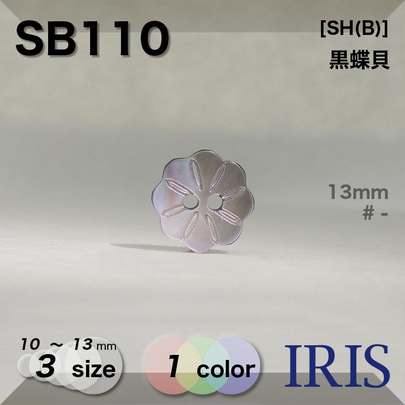 SB110 黒蝶貝 表穴2つ穴ボタン  3サイズ1色展開