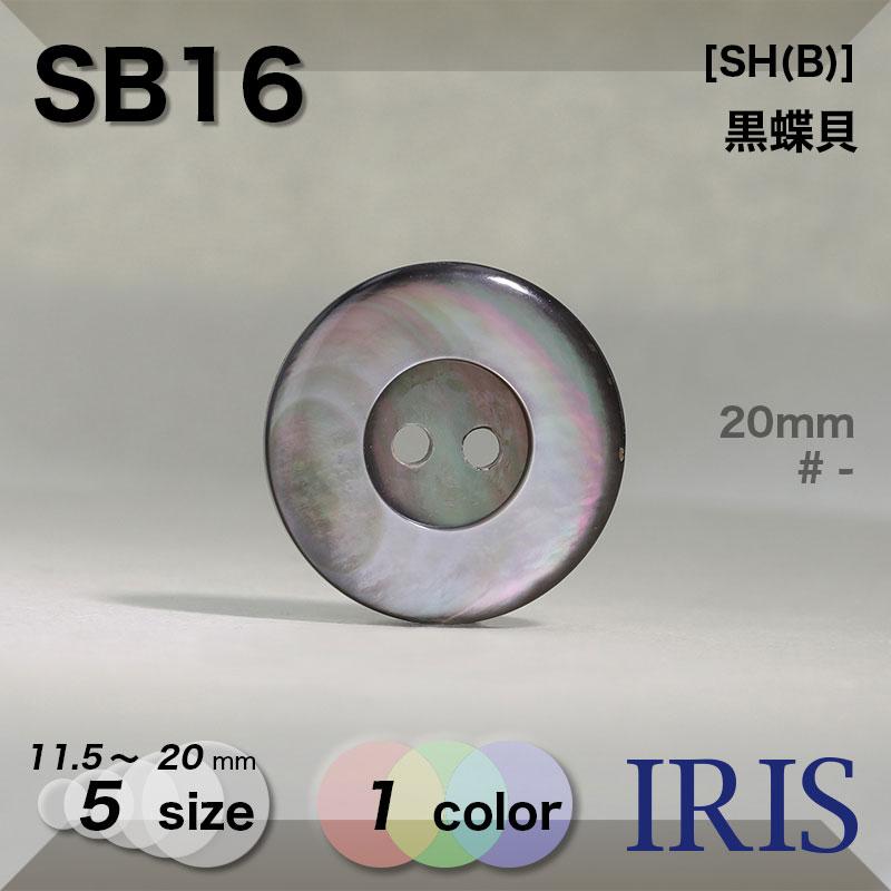 SB16 黒蝶貝 表穴2つ穴ボタン  5サイズ1色展開