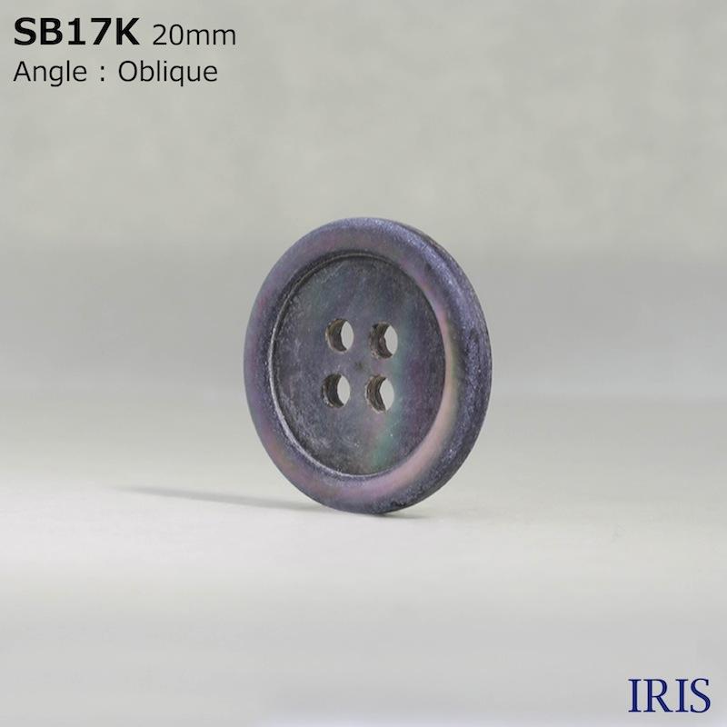 SB17K 黒蝶貝 表穴4つ穴ボタン  11サイズ1色展開