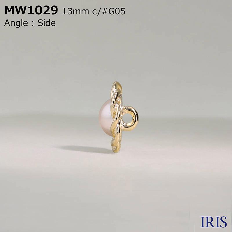 MW1029 パールコーティング/ハイメタル 半丸カン足ボタン  3サイズ2色展開