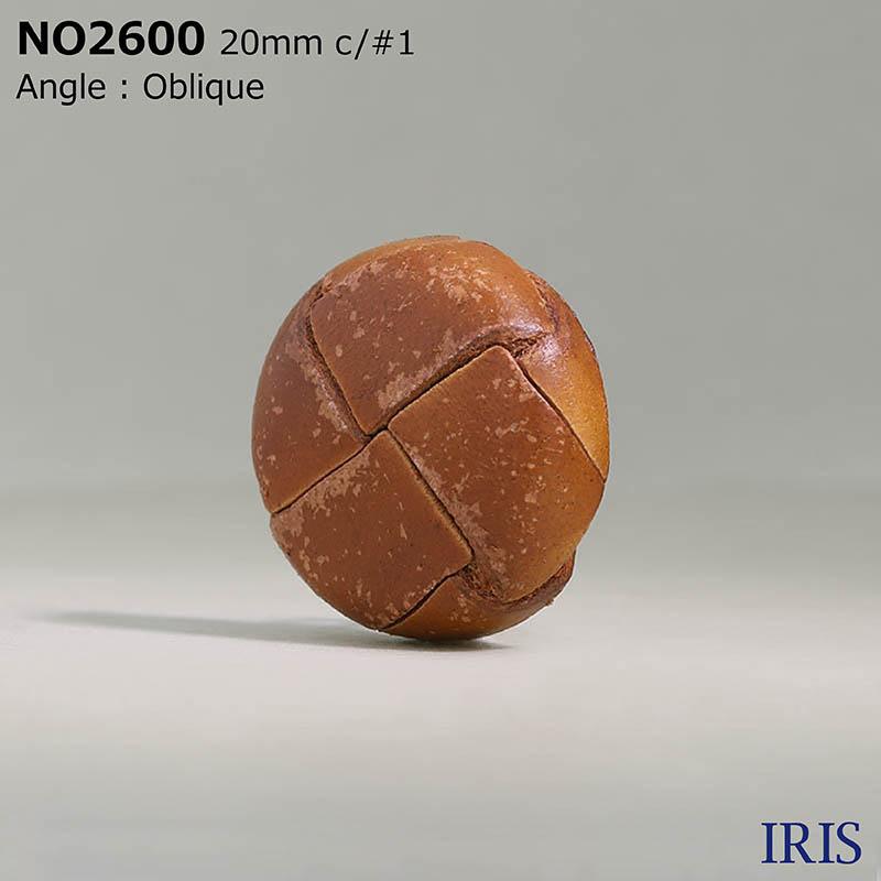 NO2600 皮革/真鍮 角カン足ボタン  4サイズ3色展開