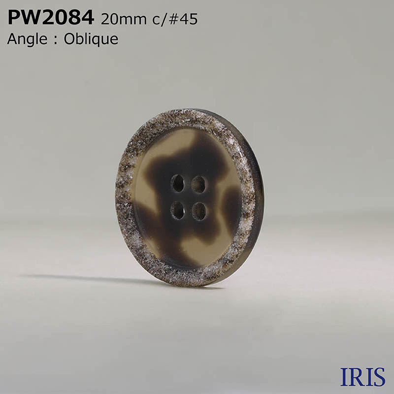 PW2084 ポリエステル樹脂 表穴4つ穴ボタン  6サイズ5色展開