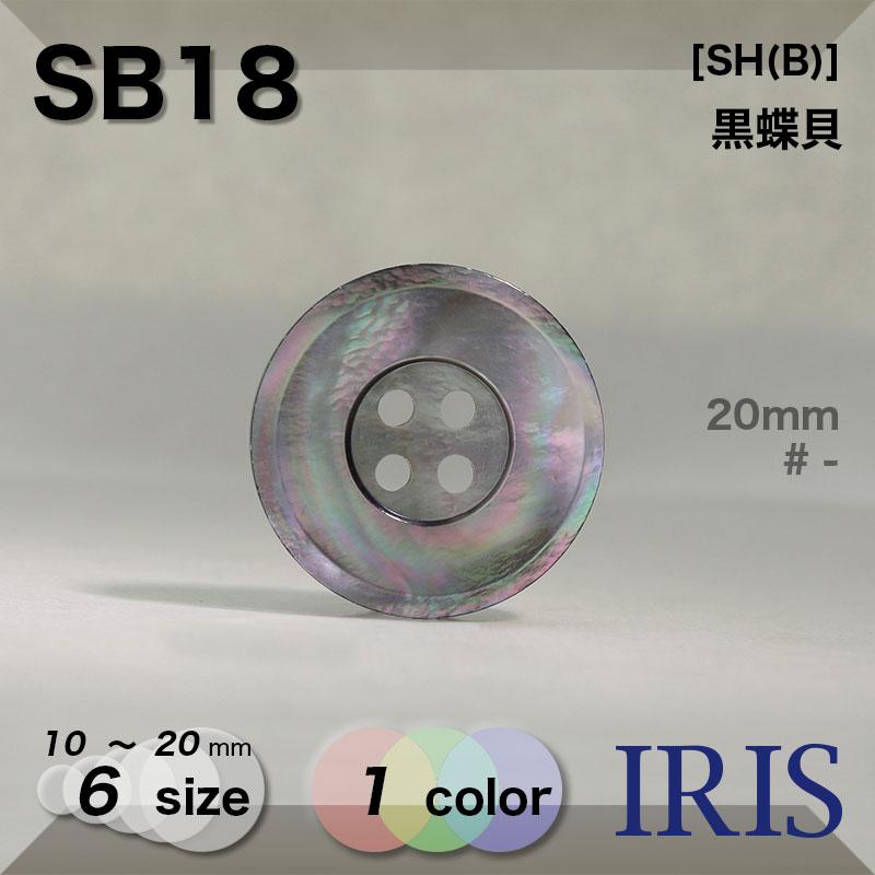 SB18 黒蝶貝 表穴4つ穴ボタン  6サイズ1色展開