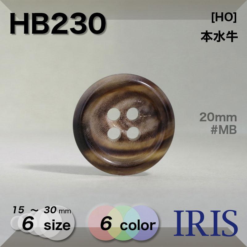 HB230 本水牛 表穴4つ穴ボタン  6サイズ6色展開