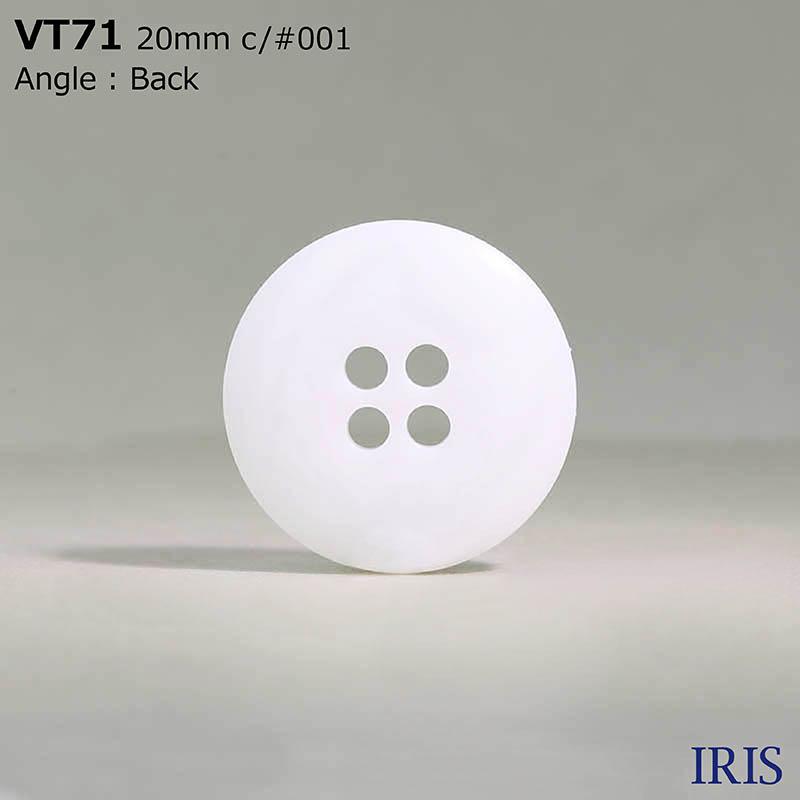 VT71 ポリエステル樹脂 表穴4つ穴ボタン  6サイズ1色展開