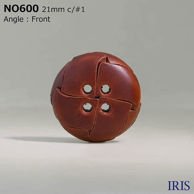 NO600 皮革 表穴4つ穴ボタン  5サイズ4色展開