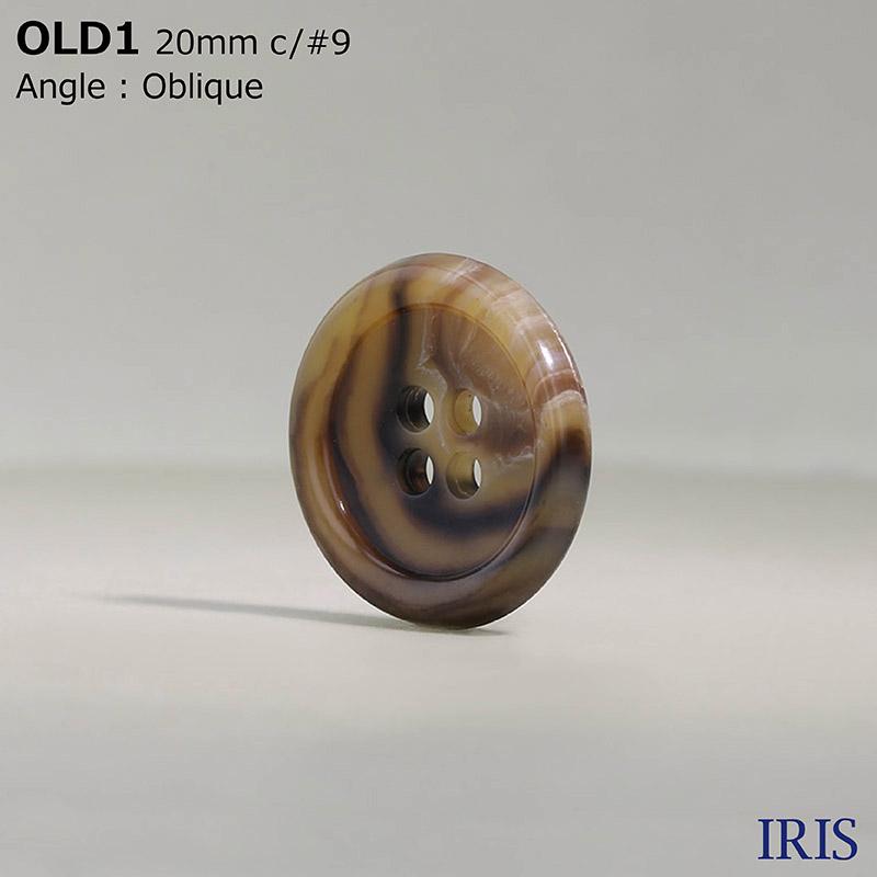 OLD1 ユリア樹脂 表穴4つ穴ボタン  5サイズ21色展開