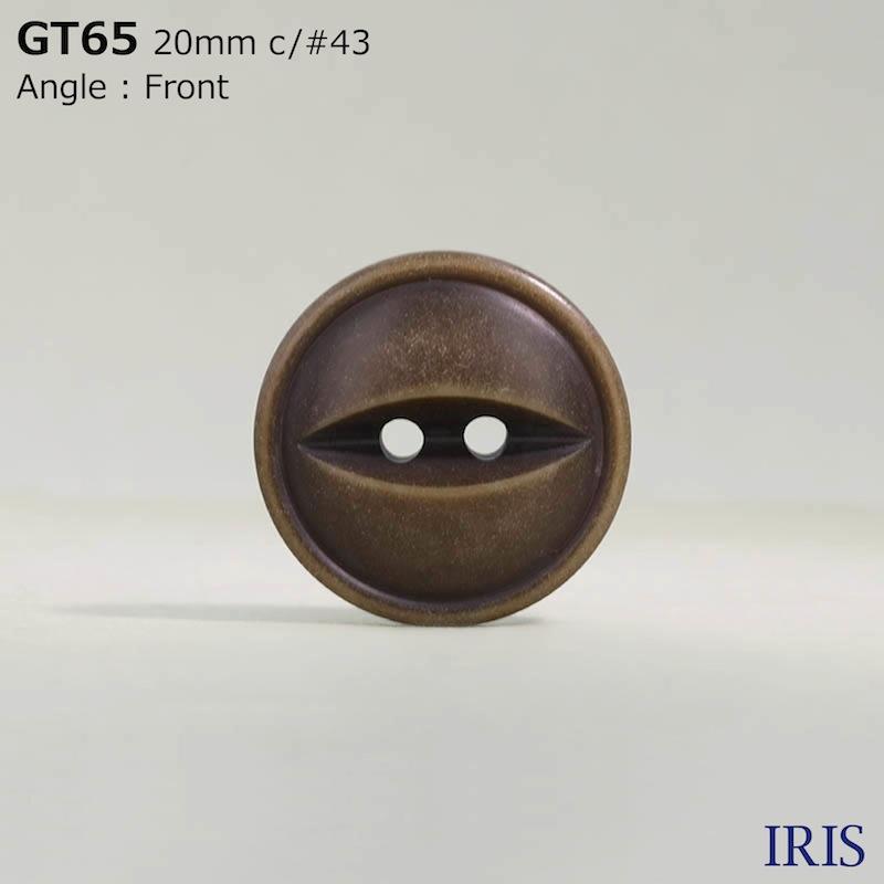 GT65 ポリエステル樹脂 表穴2つ穴ボタン  4サイズ5色展開