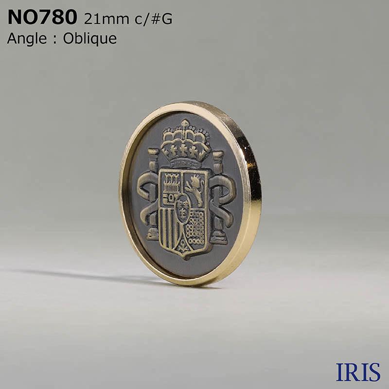 NO780 ダイカスト/真鍮 その他ボタン  3サイズ2色展開